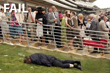 Drunk at the Races... Not a good look!