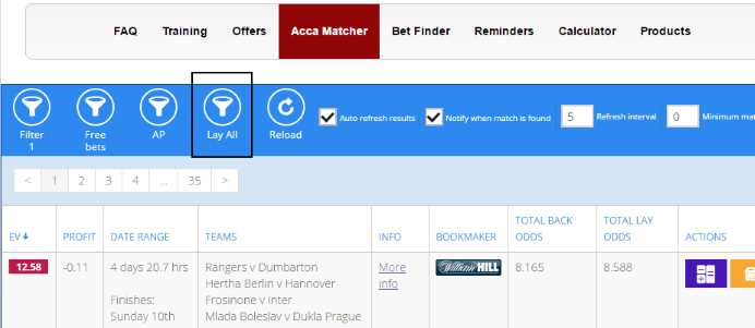 "In the Acca Matcher, select ""Lay All"""